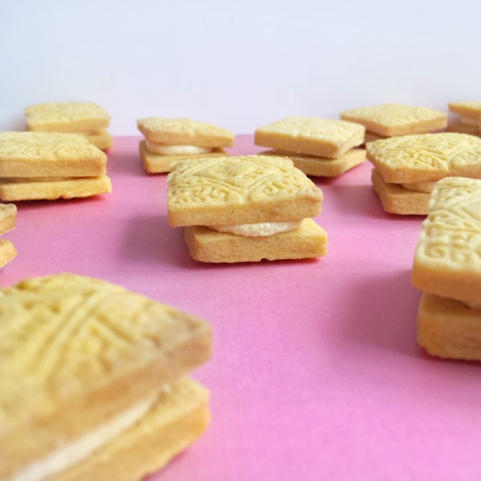 custard cream biscuits closeup